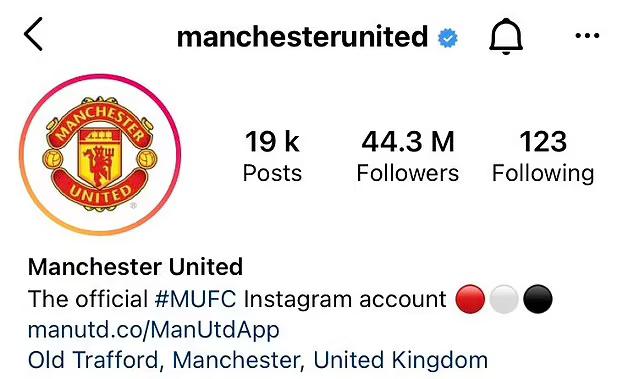 Lượng người theo dõi Instagram của Man Utd tăng đột biến sau khi công bố Ronaldo. Ảnh: Instagram.
