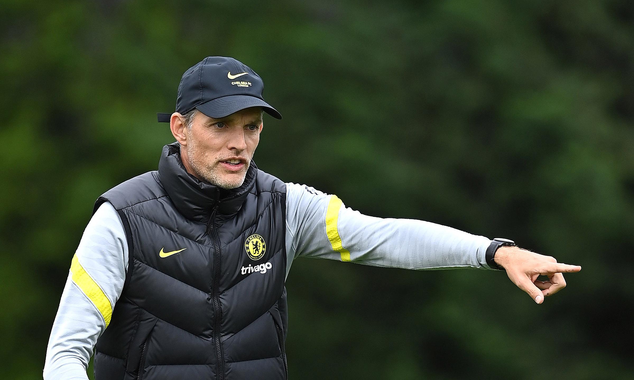 Tuchel chỉ đạo cầu thủ Chelsea tập hôm 27/8, trước trận đấu Liverpool hôm nay. Ảnh: Chelsea FC