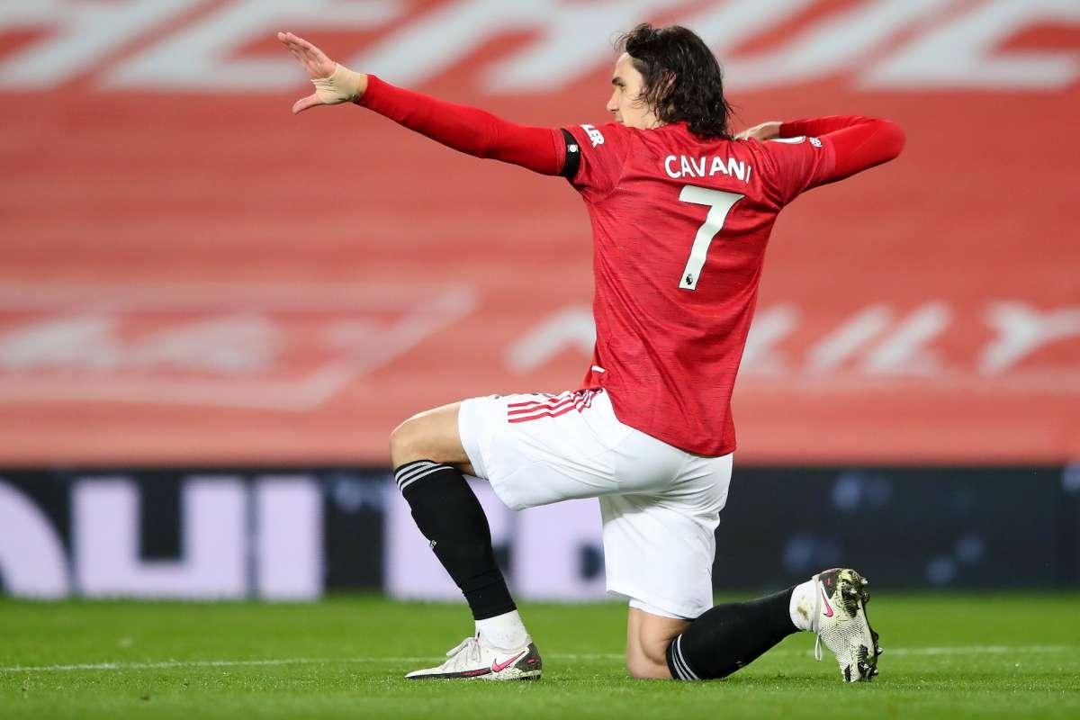 Cavani ăn mừng bàn thắng cho Man Utd mùa trước. Ảnh: AFP