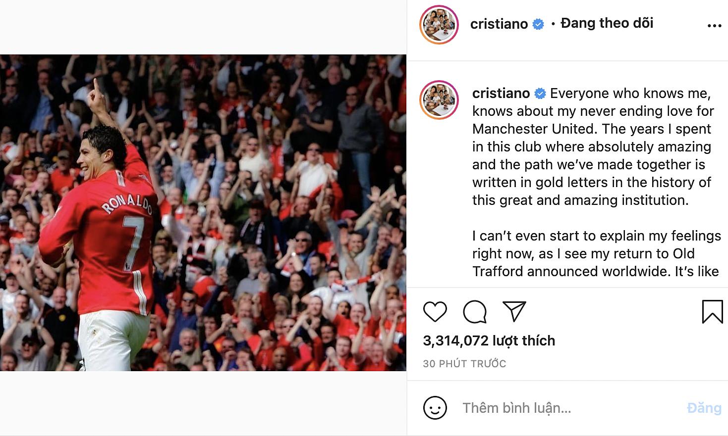 Thông điệp Ronaldo dành tặng CĐV Man Utd. Ảnh: chụp màn hình