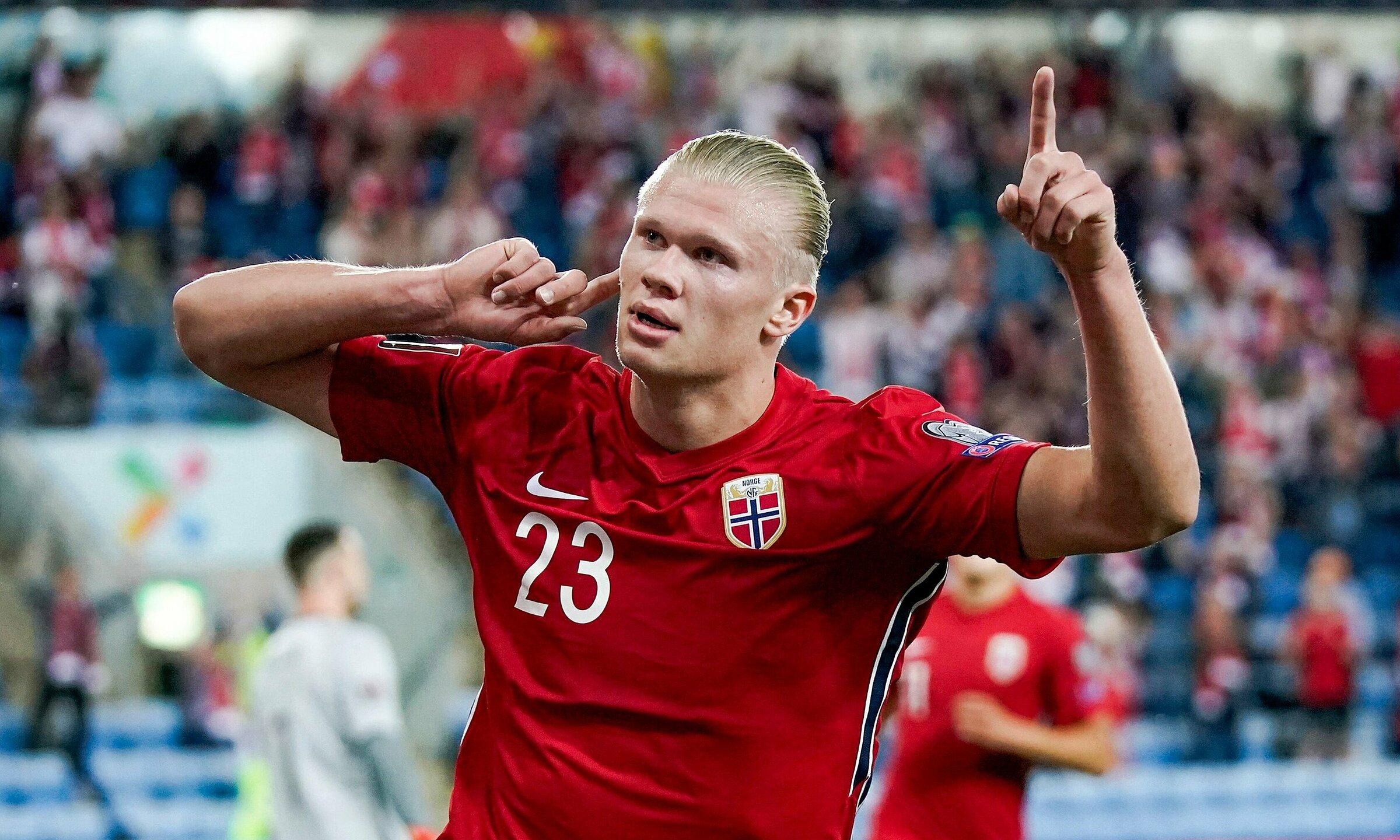 Bàn mở tỷ số ở phút 20 là bàn thứ 32 của Haaland trong 38 trận đã đấu, cả ở cấp CLB lẫn ĐTQG, trừ đầu năm 2021. Ảnh: ANP & UEFA