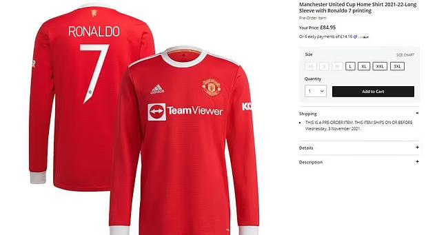 ด้วยบางขนาด แมนฯ ยูไนเต็ด ขายเสื้อของโรนัลโด้หมด  ภาพ: แมนฯ ยูไนเต็ด