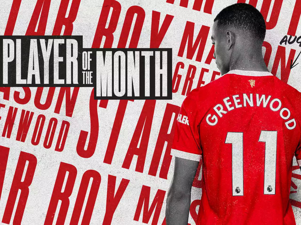 """Greenwood ได้รับการโหวตให้เป็นผู้เล่นของ Man Utd ประจำเดือน สิงหาคม  ภาพถ่าย: """"manutd.com"""""""