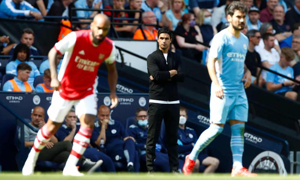 Thầy trò Arteta thua Man City 0-5 ở vòng ba Ngoại hạng Anh. Ảnh: Reuters.