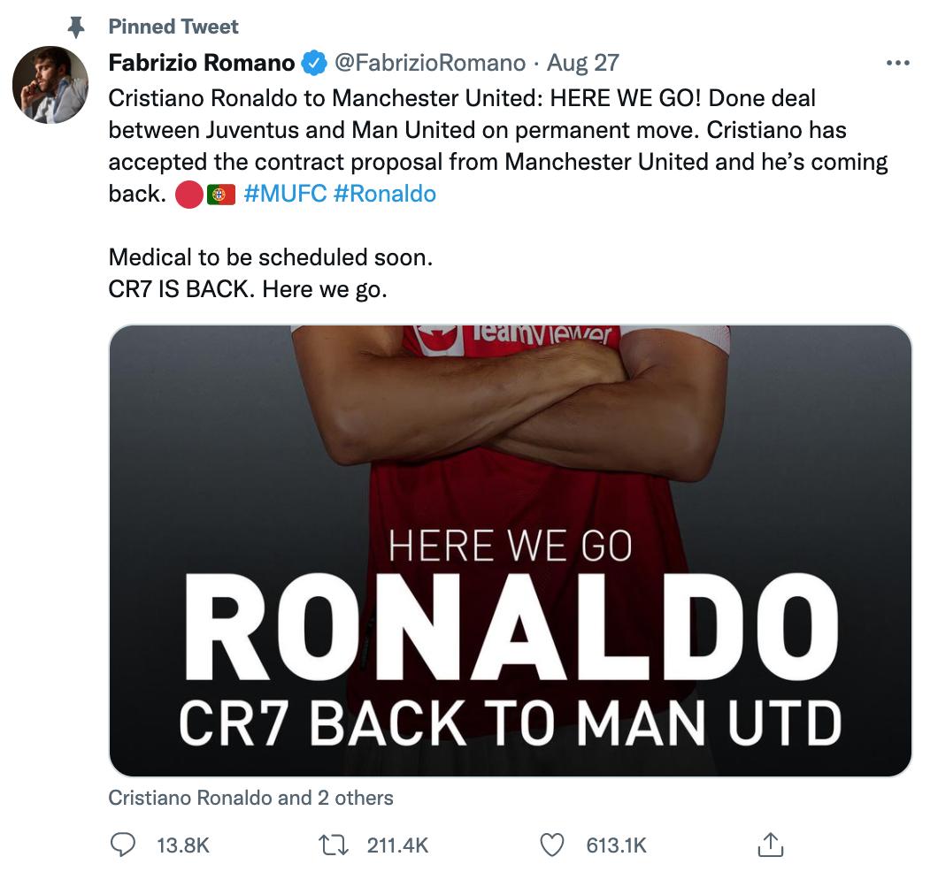 Các thông báo của Romano trên mạng xã hội kèm từ khoá Nào lên đường thôi là một thương hiệu riêng của chuyên gia săn tin này qua mỗi kỳ chuyển nhượng bóng đá châu Âu. Ảnh: chụp màn hình
