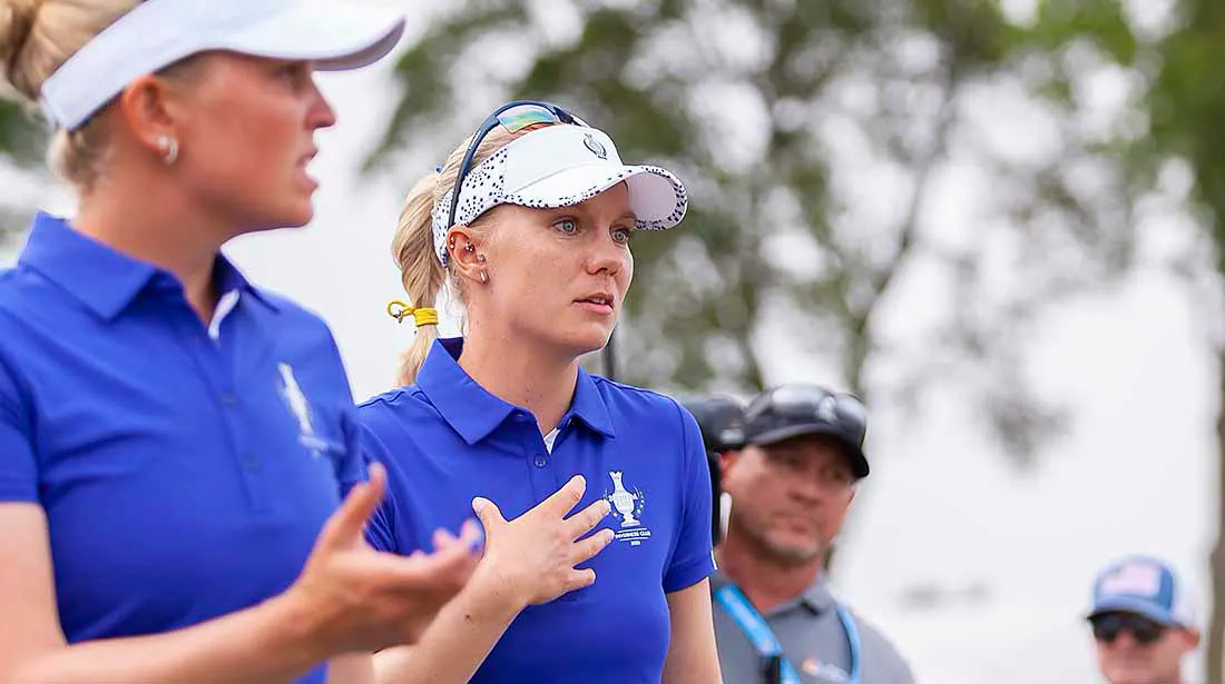 Sagstrom and his playmate Nanna Koerstz Madsen (left) argued with the referee after a controversial situation in the 13th hole in the first round of the Solheim Cup on September 4.  Photo: Morning Read / SI