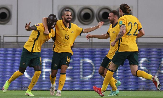 Australia tạm dẫn đầu bảng sau khi thắng Trung Quốc 3-0 cách đây bốn ngày. Ảnh: AFP.