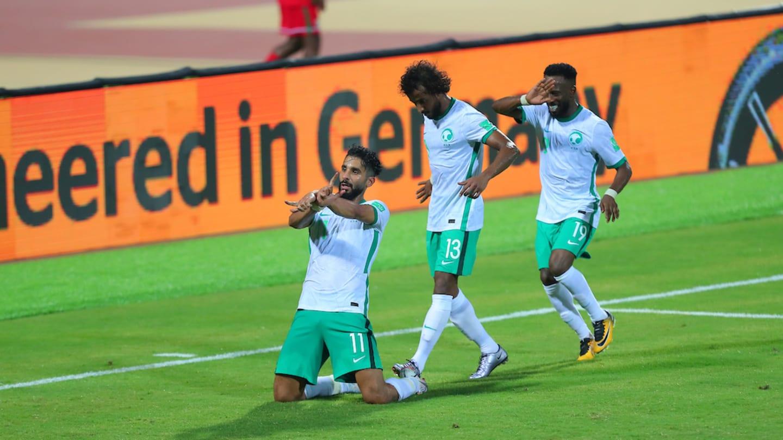 Al-Shehri mừng bàn thắng duy nhất của trận đấu. Ảnh: AFC