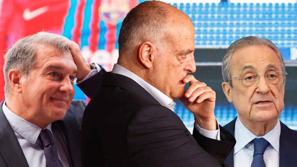 Tebas (giữa) cho rằng La Liga đang bị đổ oan trách nhiệm trong nỗ lực của Barca và Real nhằm tẩy chay thoả thuận tài chính với CVC. Ảnh: El Espanyol