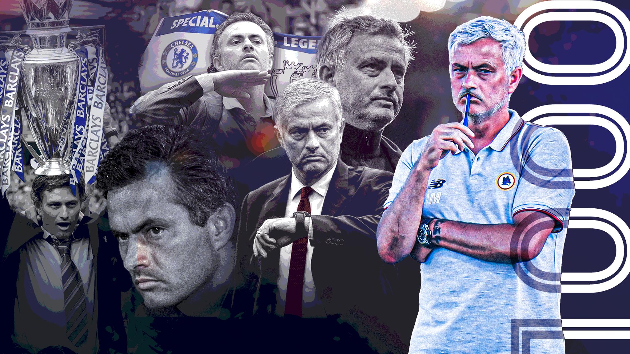 Mourinho sẽ cán mốc 1000 trận cầm quân khi cùng Roma tiếp Sassuolo lúc 1h45 thứ Hai 13/9. Ảnh: Sky Sports