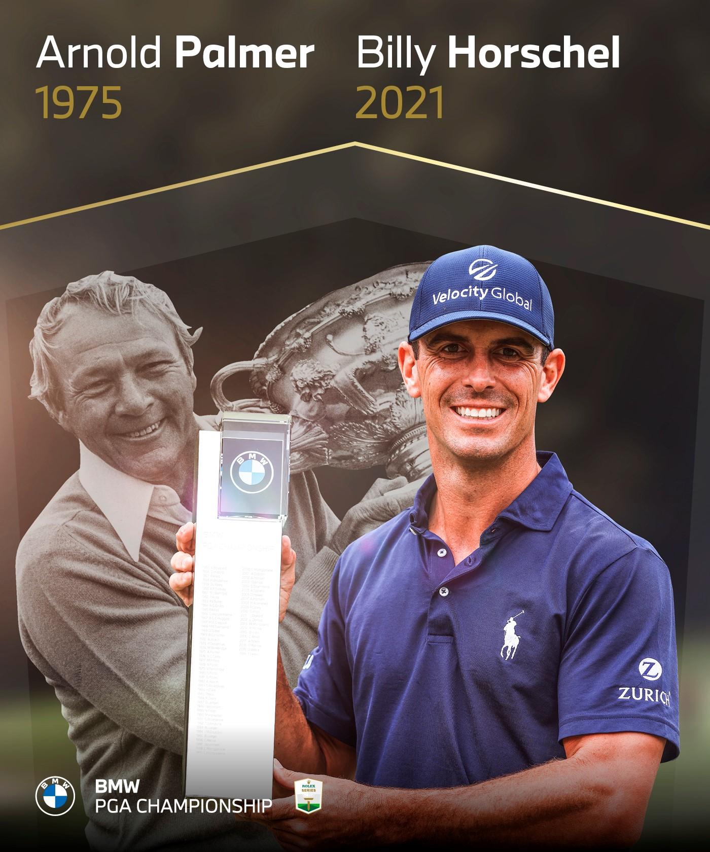 Horschel sánh cùng huyền thoại Arnold Palmer với chức vô địch hôm 12/9. Ảnh: Twitter / European Tour
