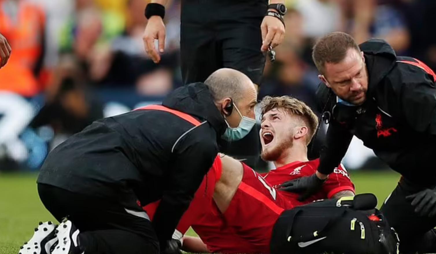 Elliott gào thét đầy đau đớn, sau bị Struijk phạm lỗi. Ảnh: Reuters