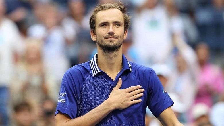Medvedev chơi trận chung kết hay nhất sự nghiệp, với chỉ một lần thua game giao bóng. Ảnh: US Open