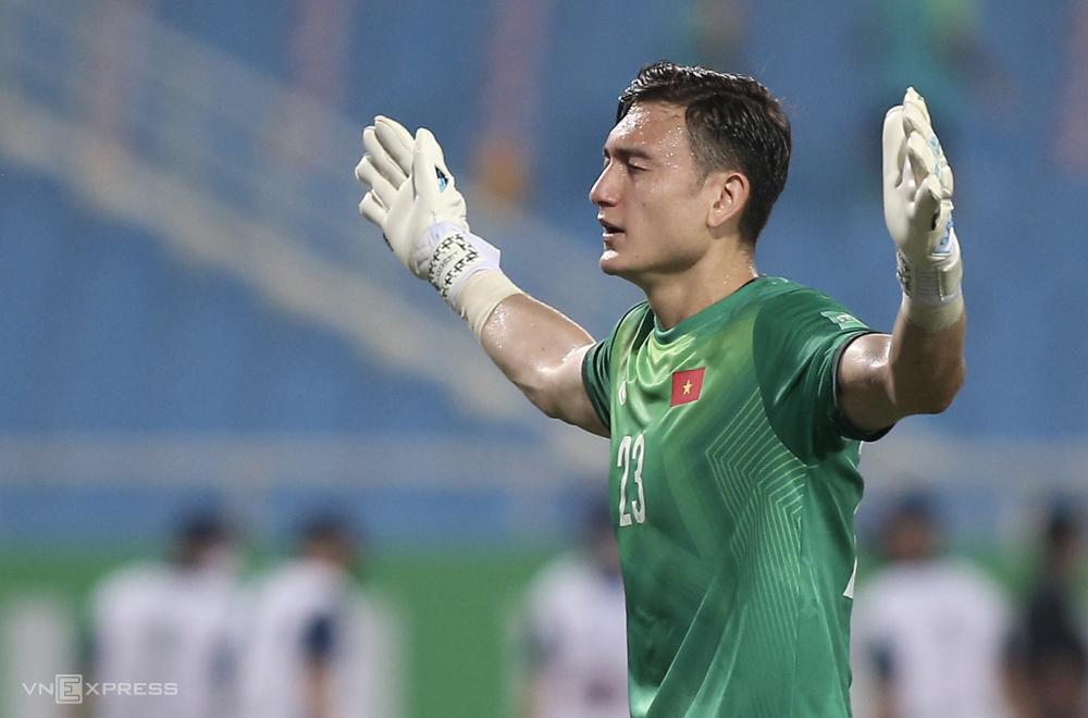Đặng Văn Lâm trong trận thua Australia 0-1 trên sân Mỹ Đình ngày 7/9. Ảnh: Lâm Thoả