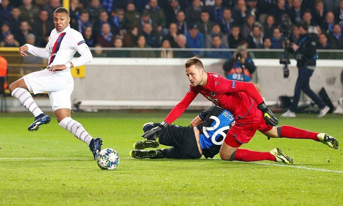 Mbappe từng ghi hat-trick giúp PSG huỷ diệt Brugge ở vòng bảng Champions League năm 2019. Ảnh: RFI