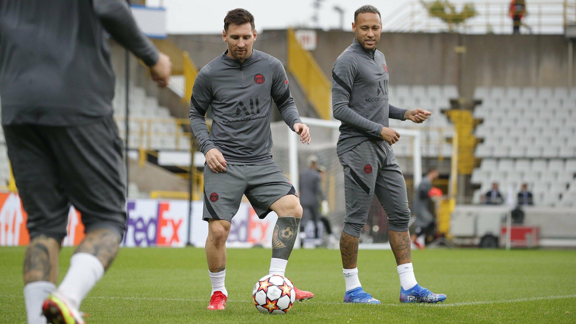 Messi vắng mặt ở Ligue 1 cuối tuần qua vì không kịp bình phục sau loạt trận vòng loại World Cup 2022, nhưng hoàn toàn sẵn sàng để đá chính trước Brugge hôm nay. Ảnh: Twitter / PSG
