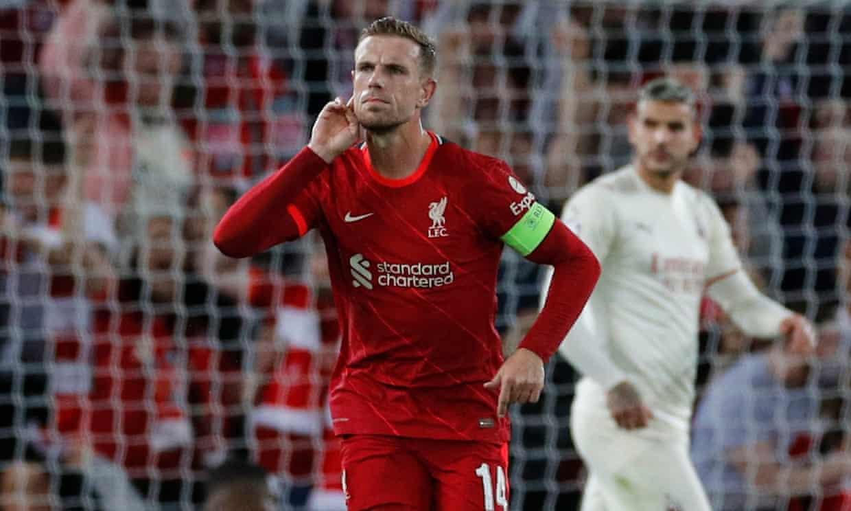 Henderson mừng bàn ấn định thắng lợi 3-2 cho Liverpool. Ảnh: Reuters
