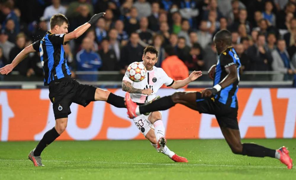 Messi không thể ghi bàn trong trận đấu thứ 150 tại Champions League. Ảnh: AFP