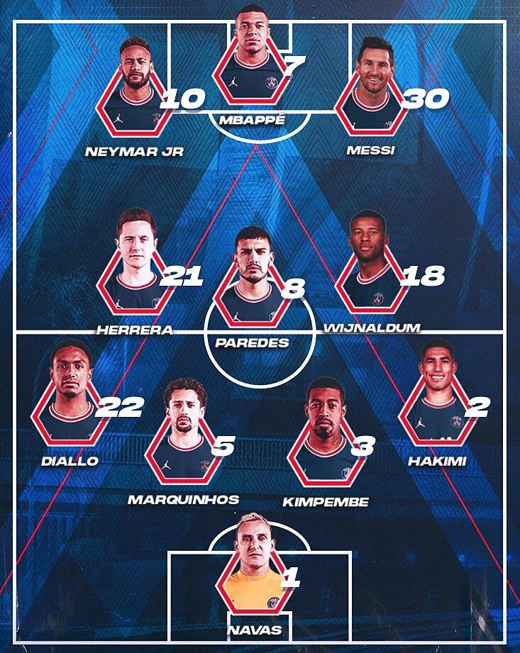 Đội hình xuất phát PSG sử dụng khi đấu Club Brugge. Tuyến giữa, với Wijnaldum, Paredes và Herrera được cho là hỗ trợ chưa tốt cho bộ ba tấn công Messi, Neymar, Mbappe. Ảnh: Twitter / PSG