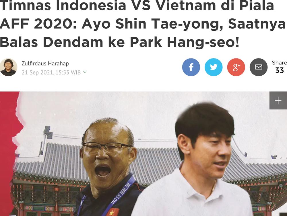 Bài viết kêu gọi HLV Shin Tae-yong cố gắng đánh bại đồng hương Park Hang-seo trên tờ Bola của Indonesia. Ảnh: Chụp màn hình