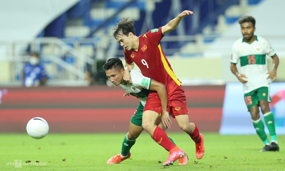 Việt Nam đánh bại Indonesia 4-0 trong lần gần nhất đối đầu, tại vòng loại World Cup 2022. Ảnh: Lâm Thoả