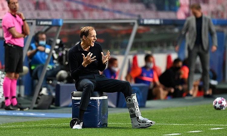Tuchel trong trận bán kết Champions League giữa PSG và RB Leipzig hôm 18/8. Ảnh: Reuters.