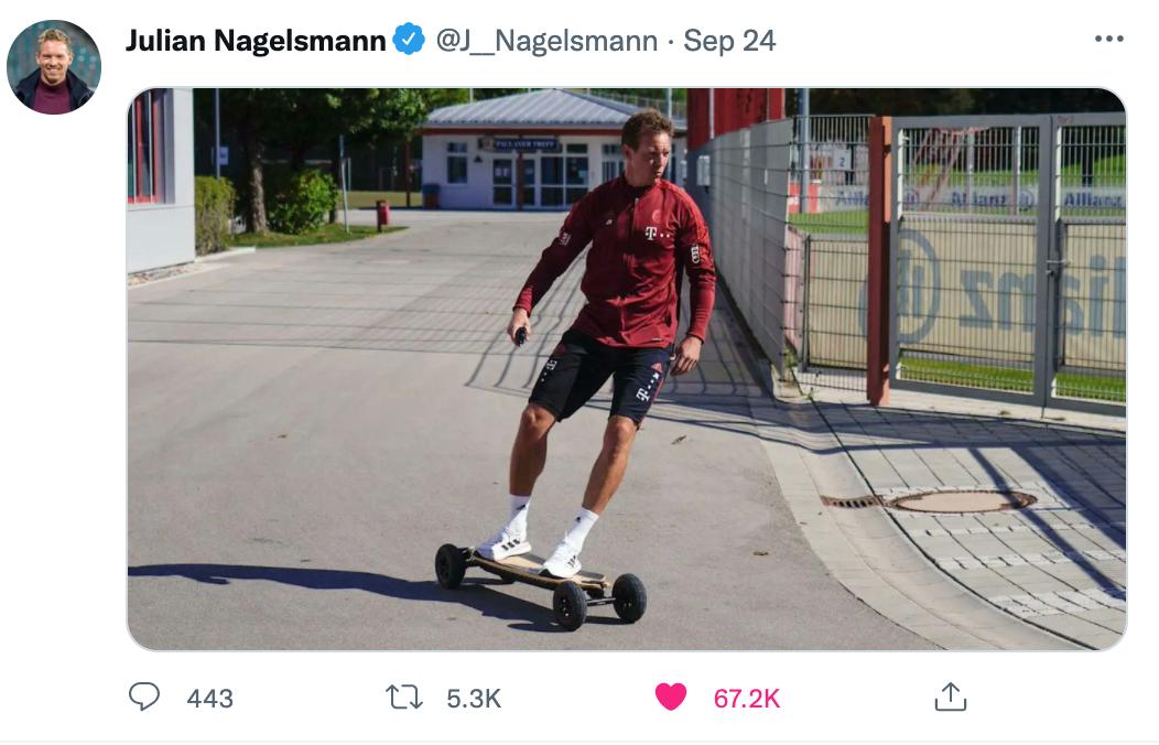 Bức ảnh gây sốt của Nagelsmann trên Twitter. Ảnh chụp màn hình