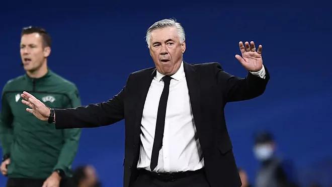 Ancelotti nhận thất bại đầu tiên trong mùa giải 2021-2022, sau sau trận thắng và hai hòa ở La Liga và Champions League. Ảnh: Marca.