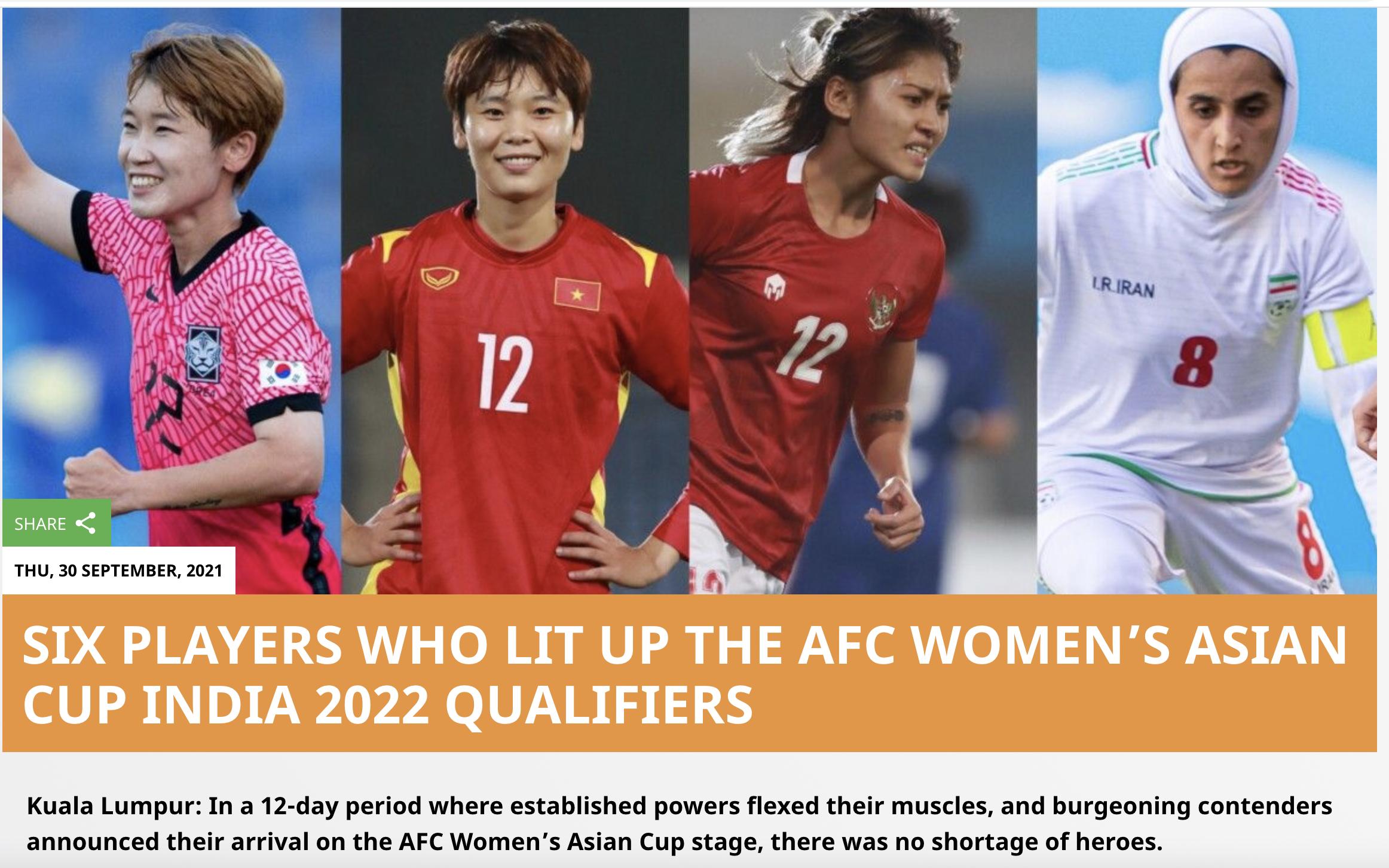 Hải Yến được AFC khen ngợi ngợi bên cạnh 5 tuyển thủ các nước khác.