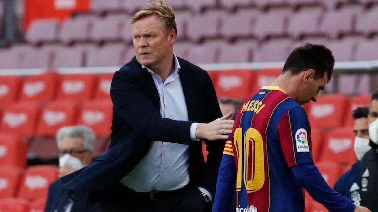 Koeman mất chỗ dựa khi không còn những bàn thắng và tầm ảnh hưởng của Messi. Ảnh: Reuters.