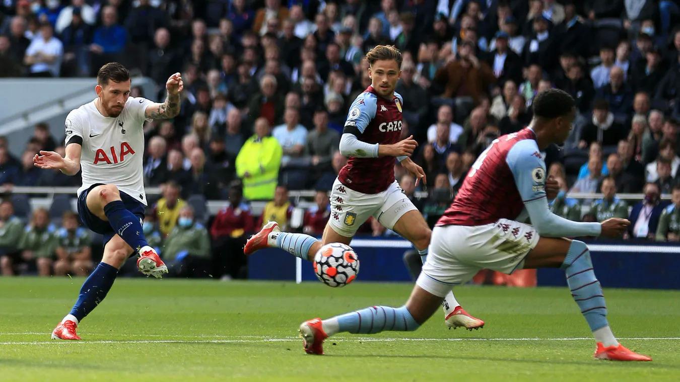 Hojbjerg trong tình huống đặt lòng chân phải, mở tỷ số trận Tottenham thắng Aston Villa 2-1 hôm 3/10. Ảnh: premierleague.com