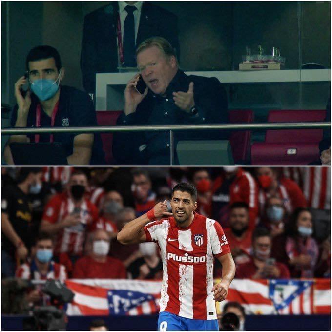 Suarez giễu nhại Koeman trên sân Wanda Metropolitano hôm 2/10. Ảnh: Twitter / Purely Football