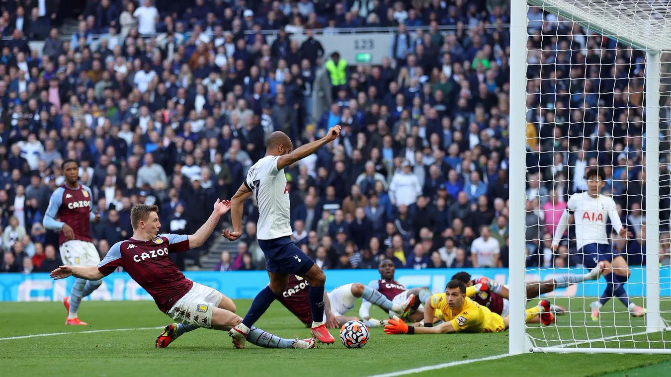 Moura trong tình huống khiến Matt Targett phản lưới Aston Villa, ấn định thắng lợi 2-1 cho Tottenham. Ảnh: premierleague.com