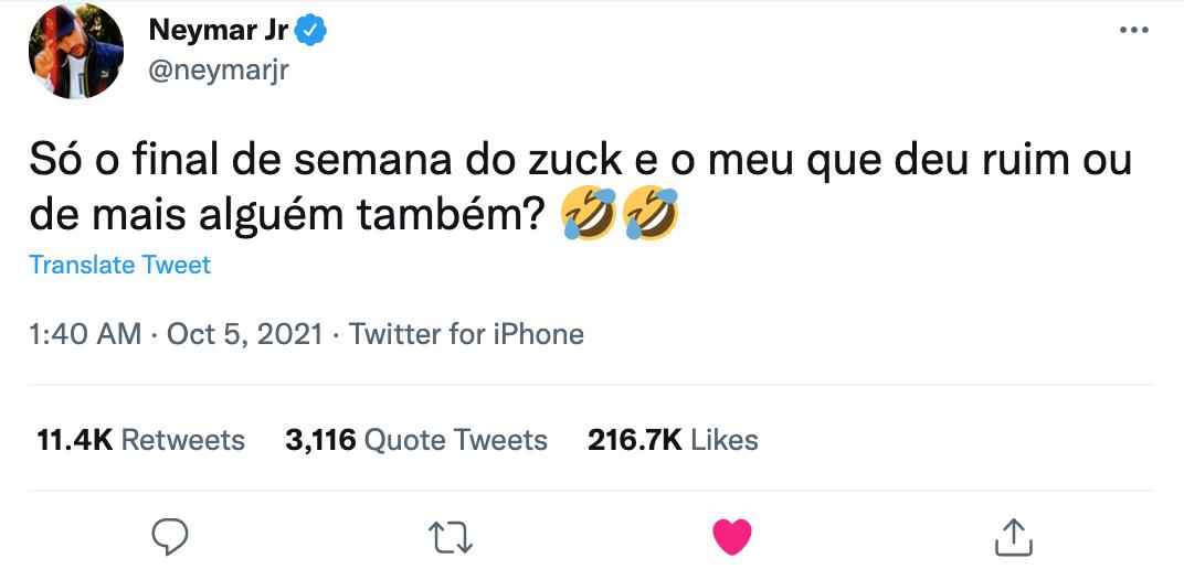 Dòng tweet gây bão của Neymar.