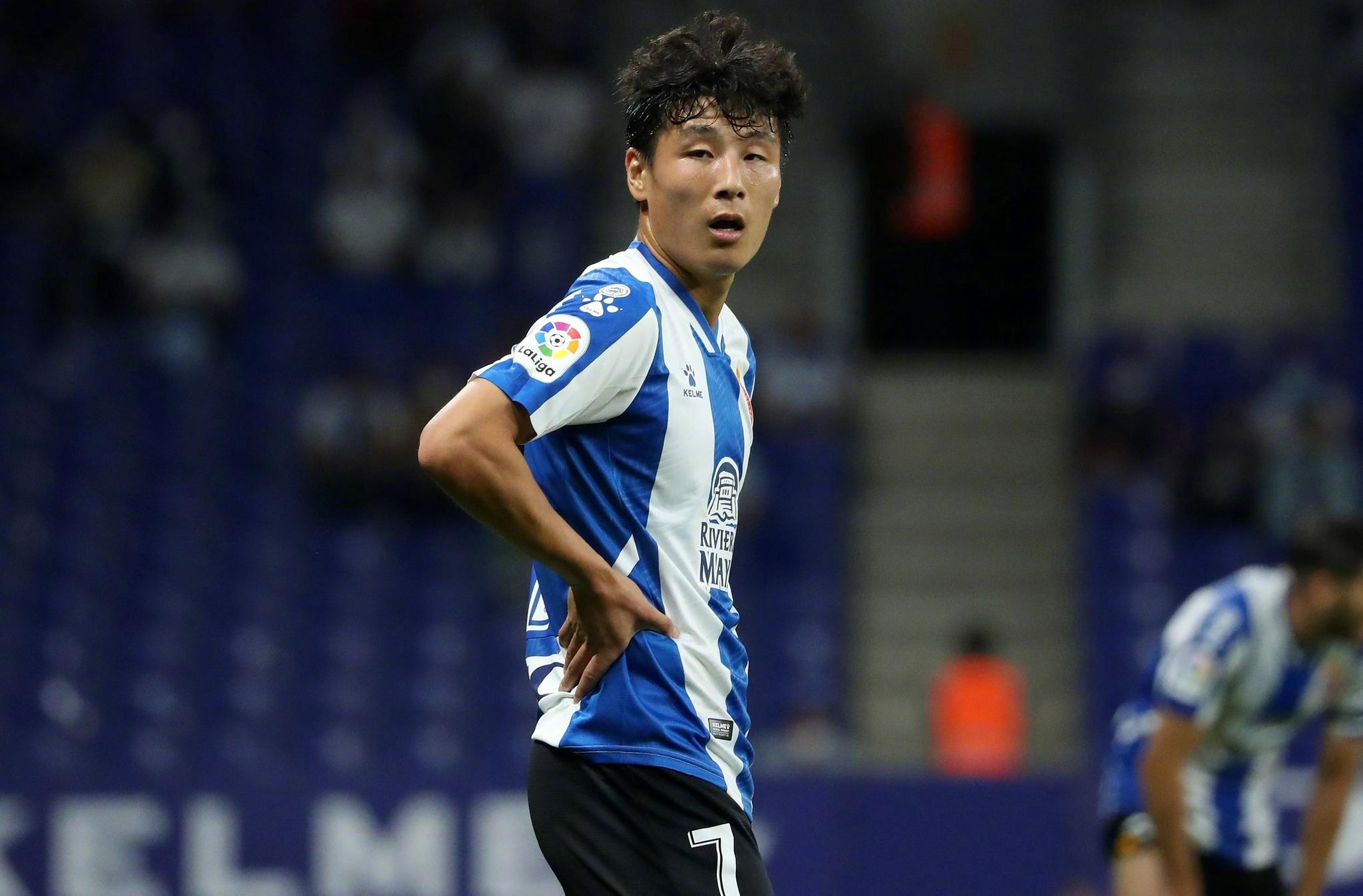 Wu Lei trong trận Espanyol hạ Real Madrid 2-1 hôm 3/10. Ảnh: Sina