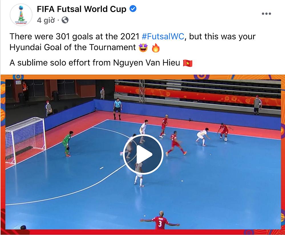 FIFA thông báo chiến thắng của Văn Hiếu: Có 301 bàn ở Futsal World Cup năm nay, và đây là bàn đẹp nhất giải. Một pha độc diễn siêu phàm của Nguyễn Văn Hiếu.