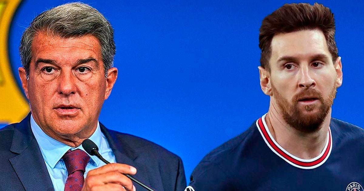Laporta (trái) không thể giữ chân Messi ở lại Barca. Ảnh: swiftheadline