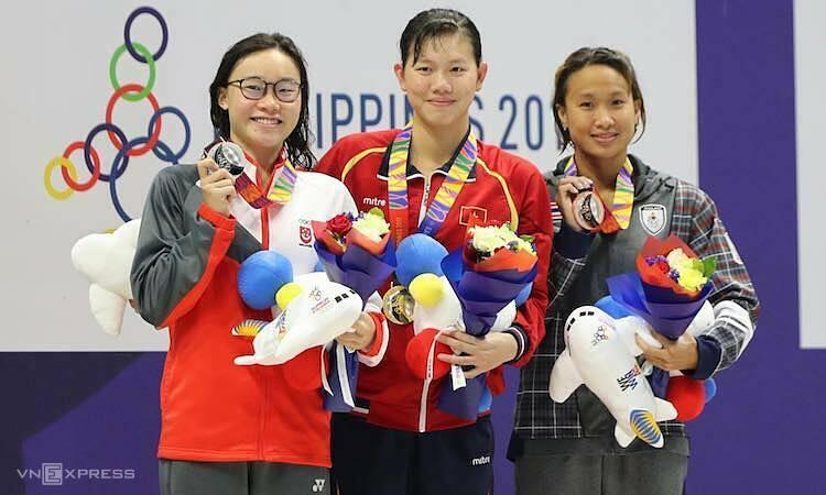 Ánh Viên đang là VĐV giàu thành tích thứ năm trong lịch sử SEA Games, về số huy chương lẫn số HC vàng. Ảnh: Duy Đoàn