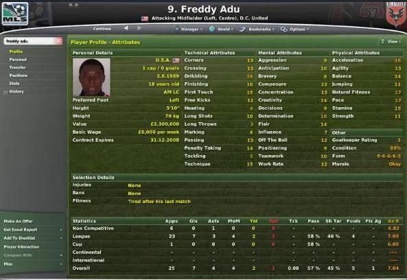 Adu được đánh giá rất cao trong trò chơi Football Manager.